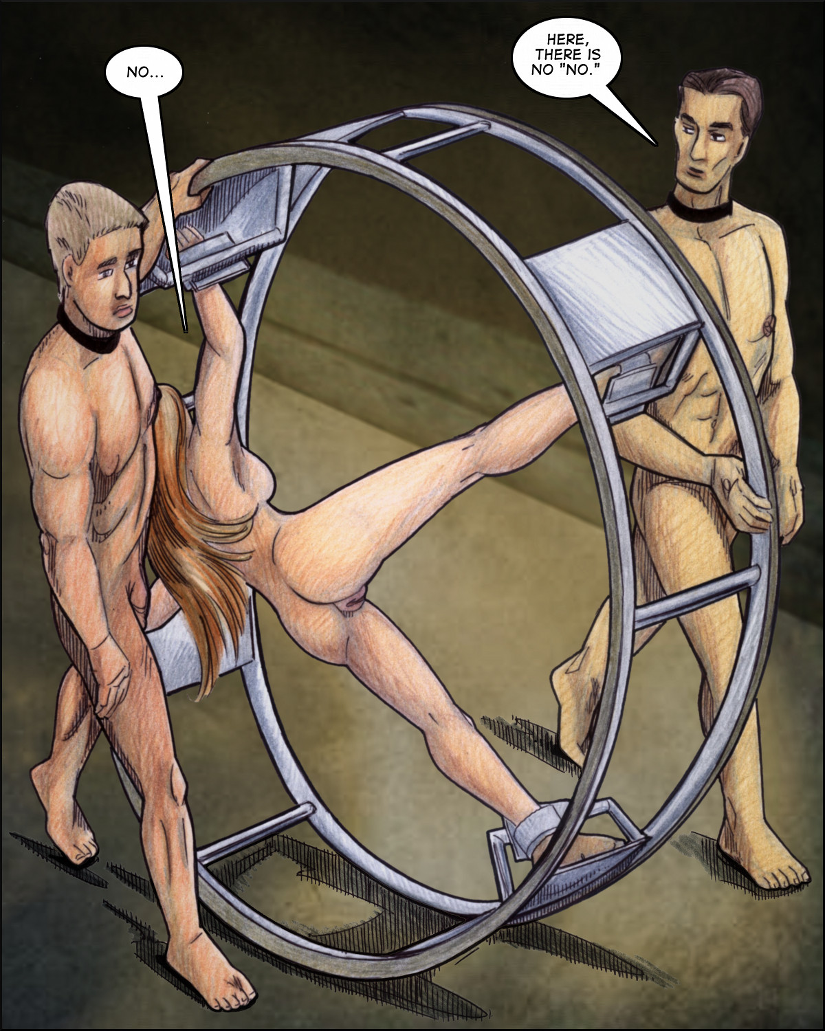 Naked Marie is bound in a giant wheel and rolled off
