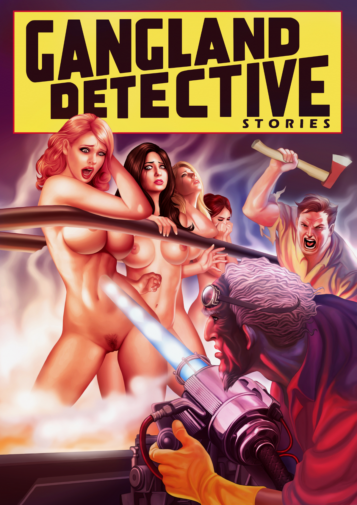 Naked girls menaced by a mad scientist with his death ray.