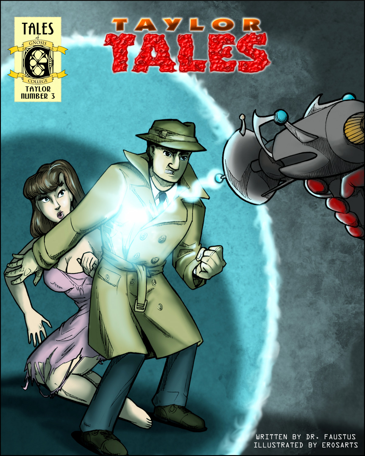 A trench-coat wearing man shields a dame from a mysterious ray gun.