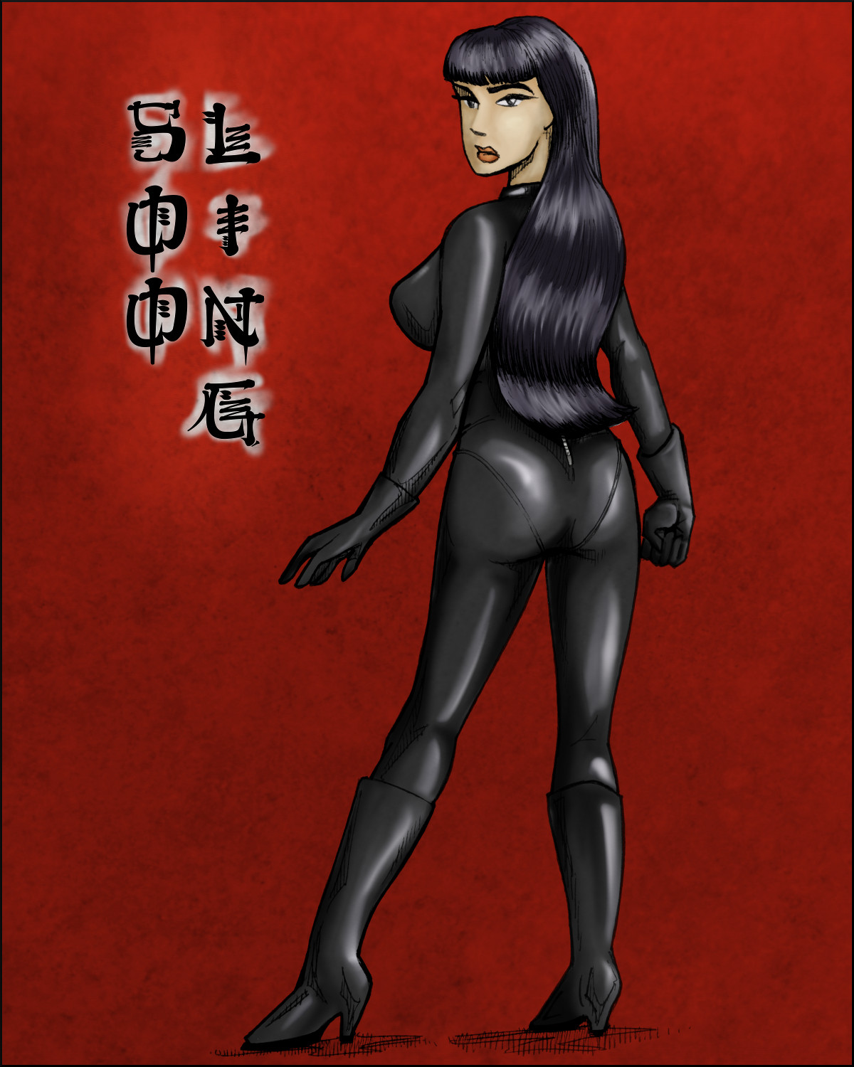 Soo Ling in a sexy black catsuit.