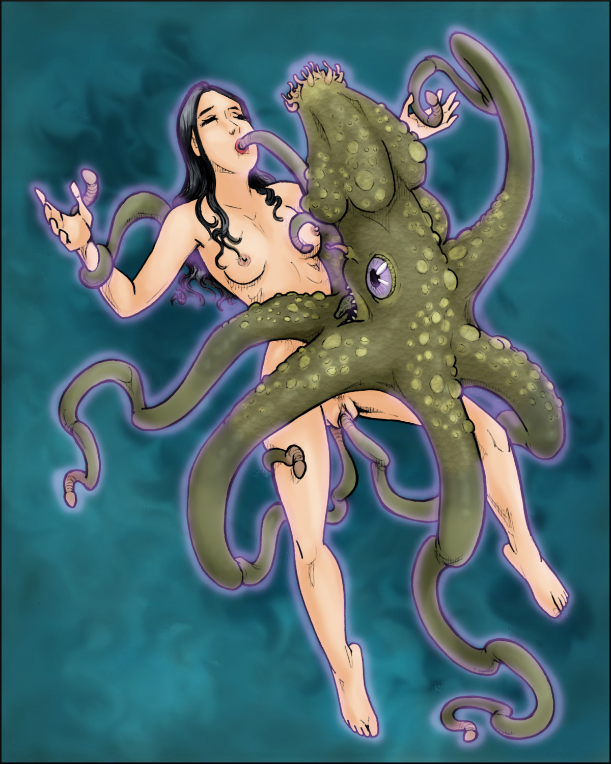Full-on tentacle monster-on-Veronica Bryce sex.  Full color and suitable for pinning up (though probably not at your workplace.)