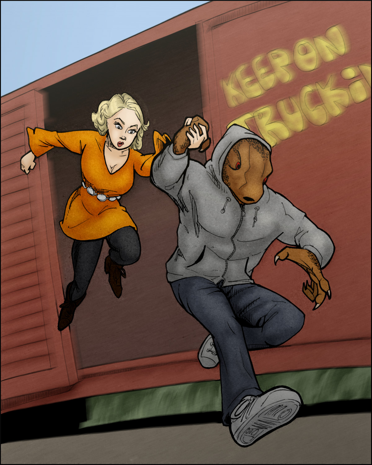 They make their leap from a moving train.