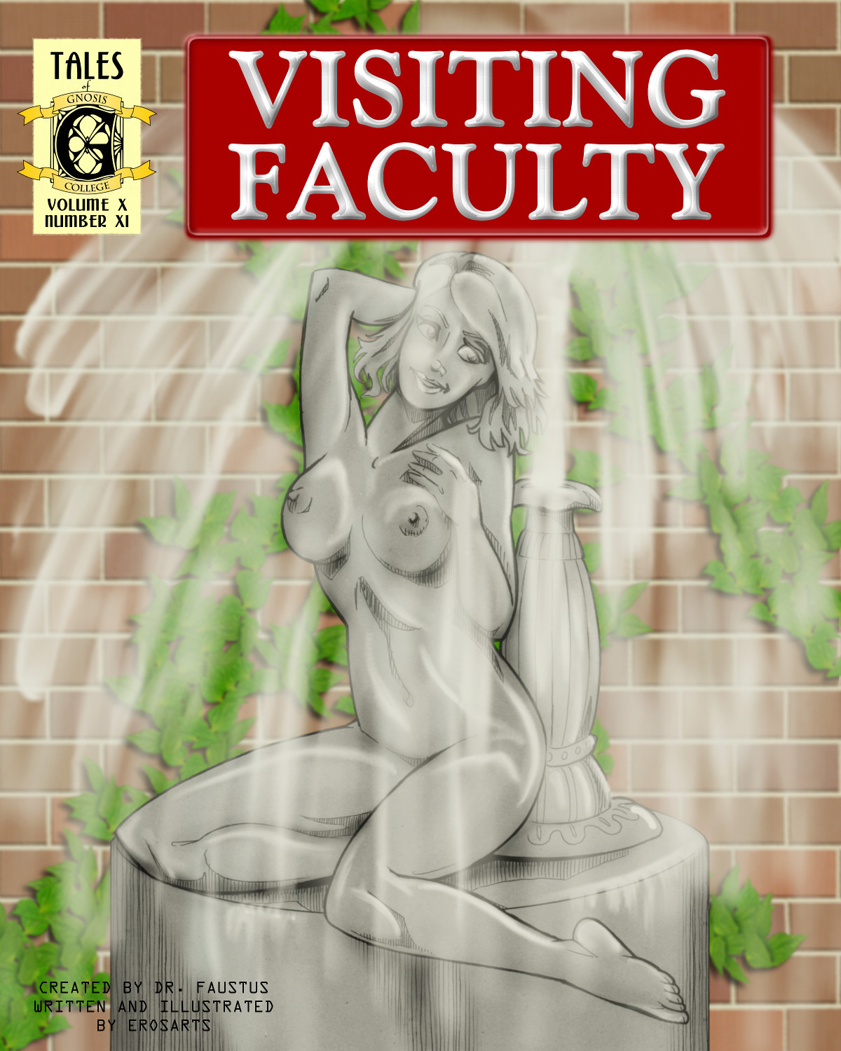 A woman-fountain, drawn by Lon to cover his own story.