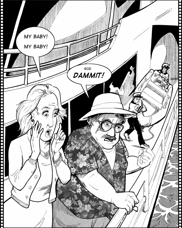 Bait:  Phoebe's parents panic helplessly on deck