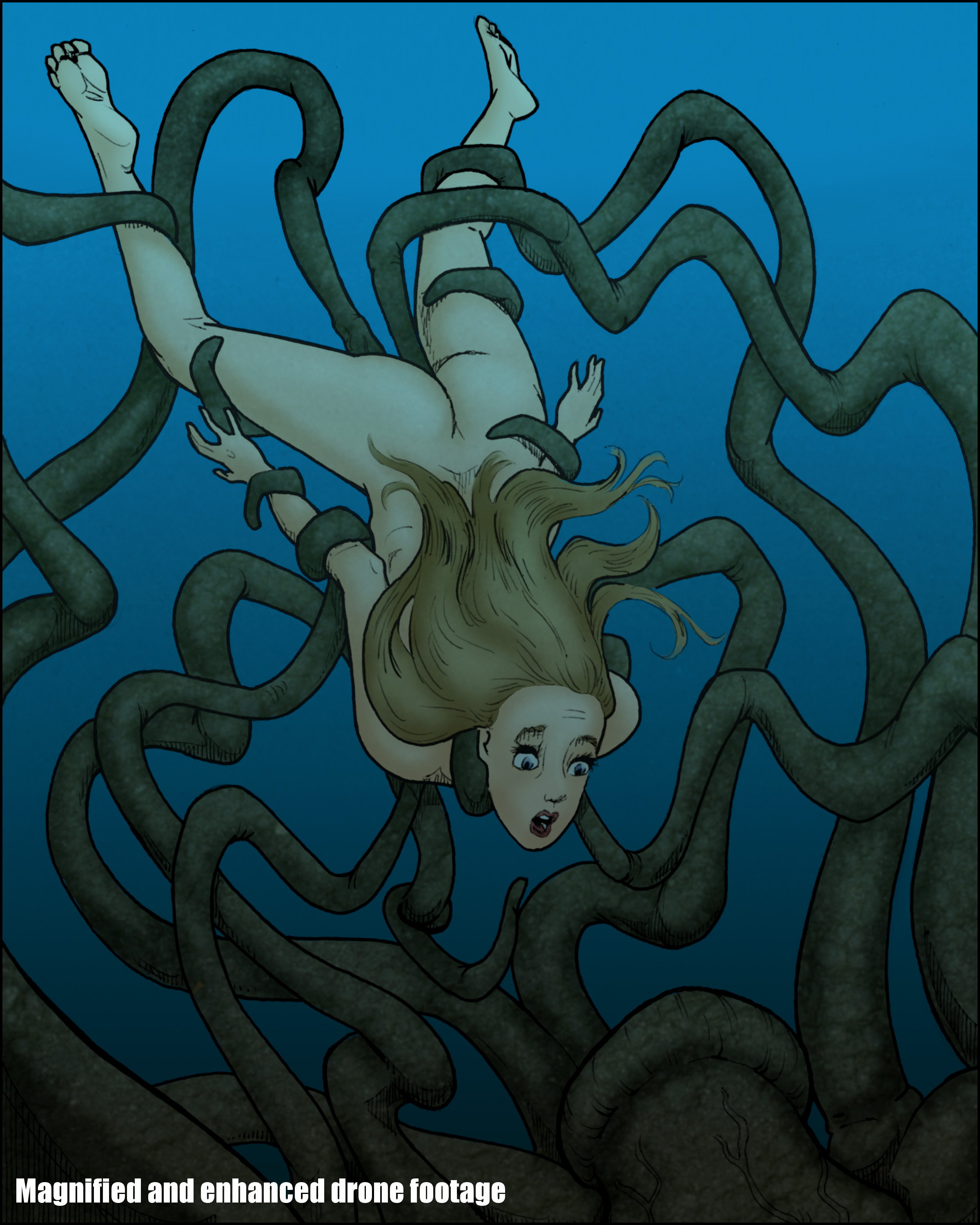 Claudia dragged by tentacles to her doom!