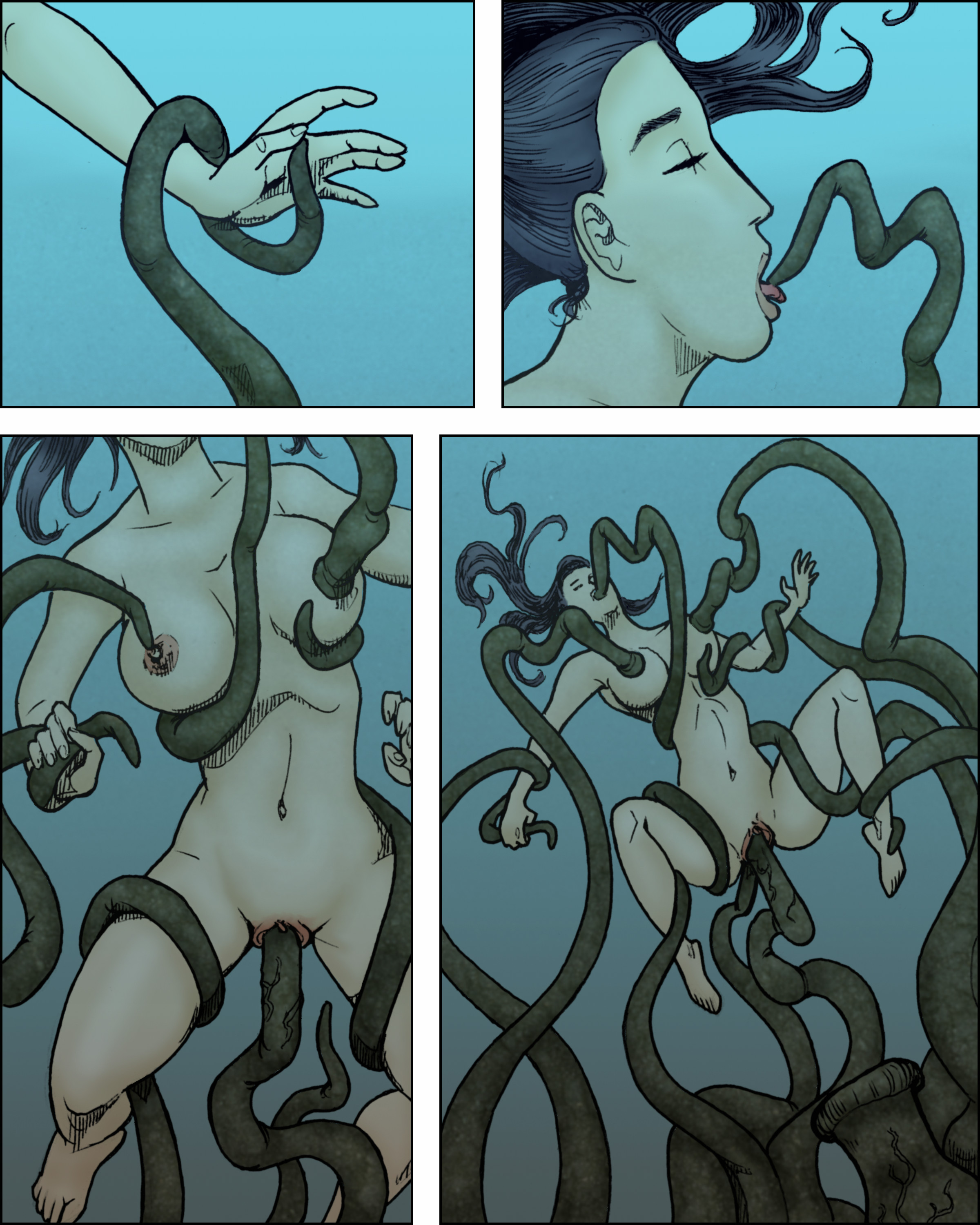 Hot tentacle sex, penetration phase.