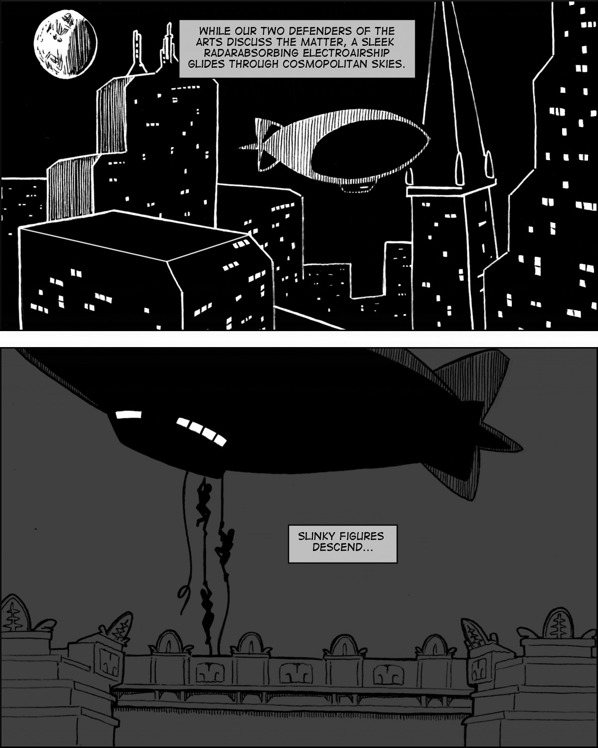 Through night skies, an airship slips.