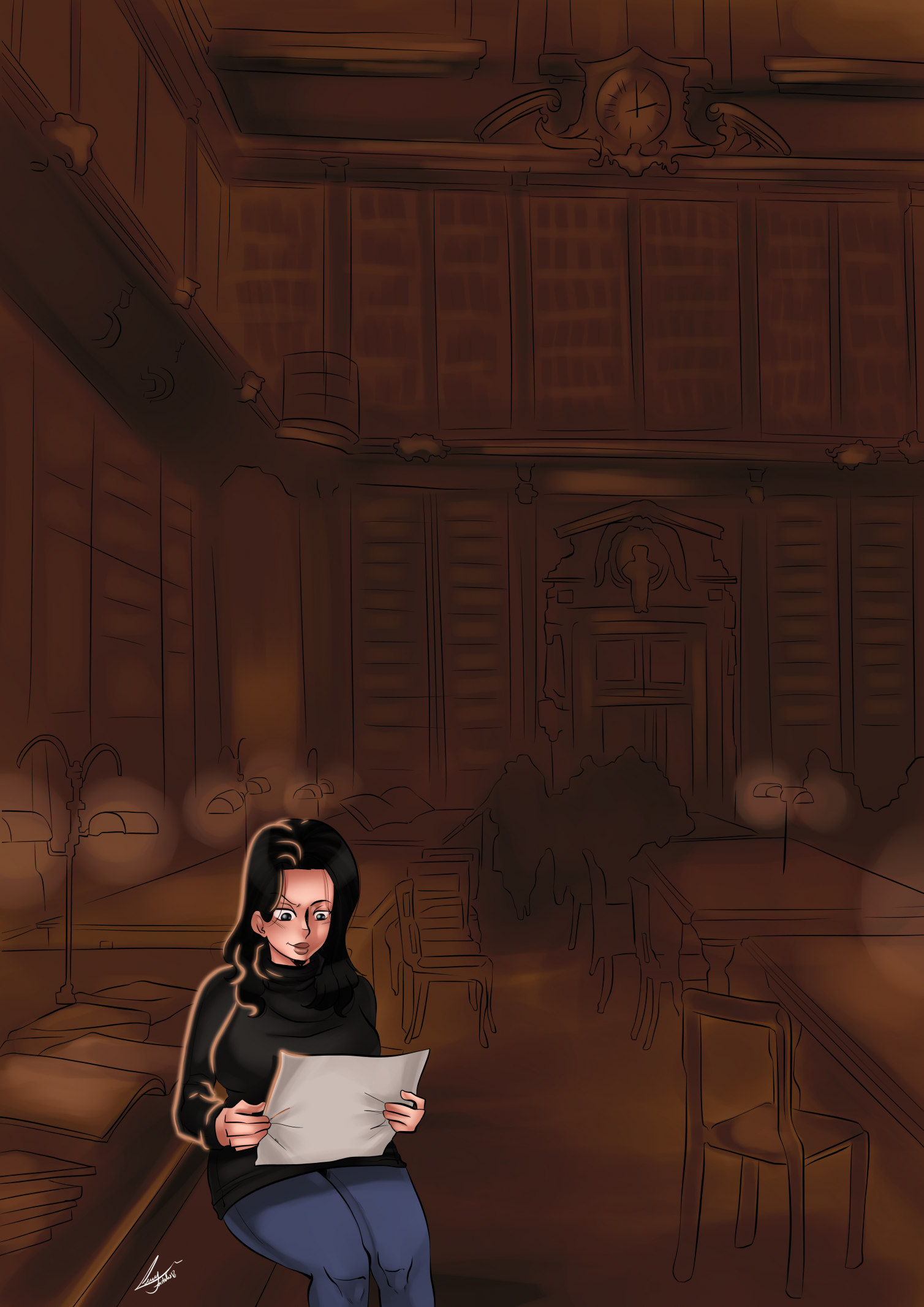 Daphne studies in a very dark library.