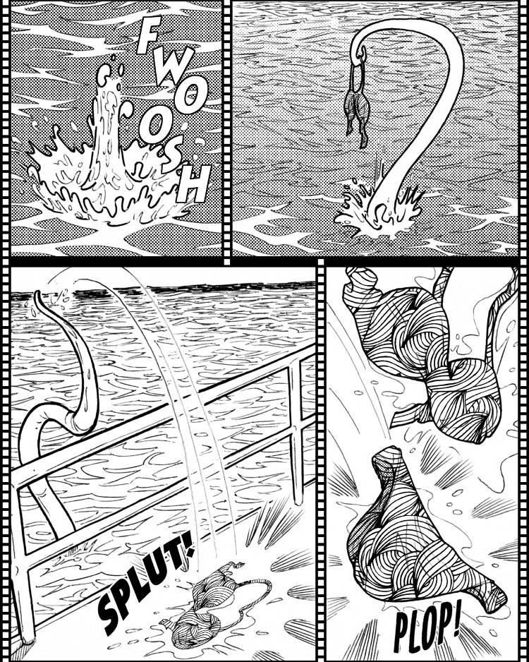 Phoebe est déshabillée par le monstre à tentacules.