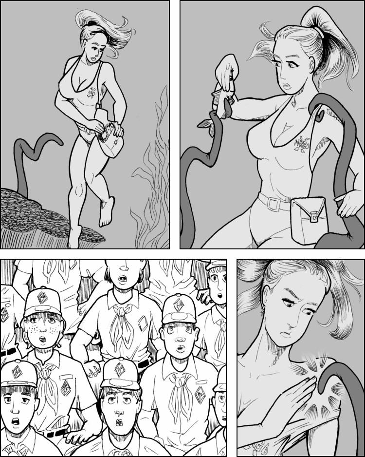La jolie jeune femme semble bien contrôler le monstre.