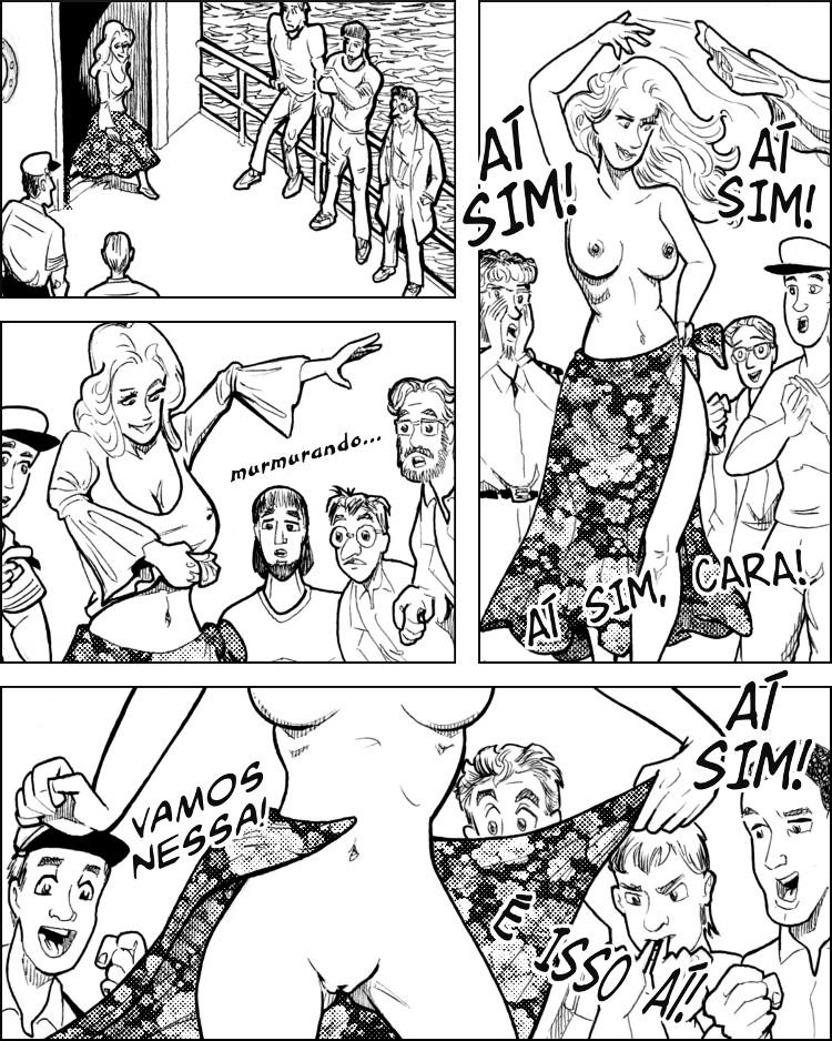 Eliza parte e logo se inicia um sensual strip-tease.