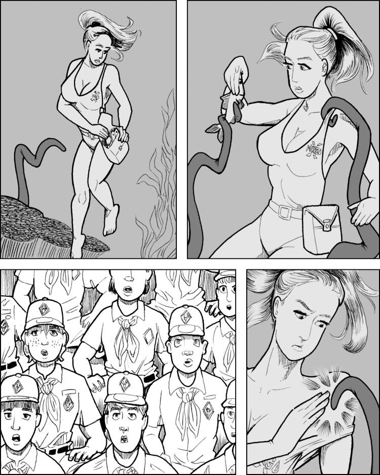 A bela mulher parece controlar bem o monstro.