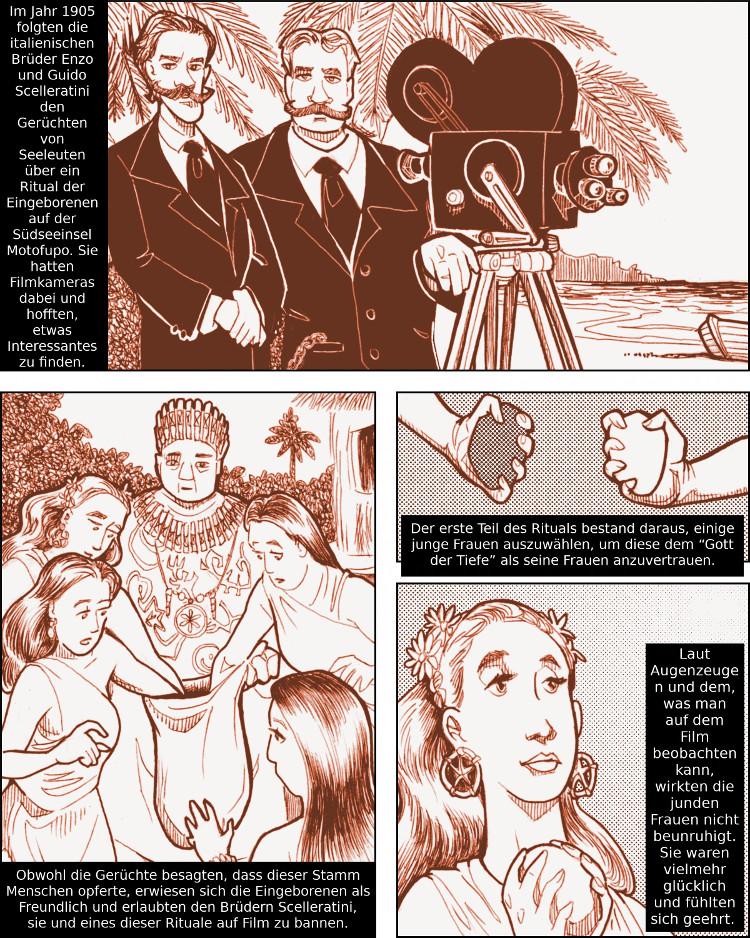 Die Brüder Scelleratini reisen in die Südsee, um einen obszönen heidnischen Ritus zu filmen.