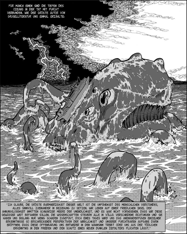 """Lovecrafts """" Cthulhus Ruf"""" zitiert."""