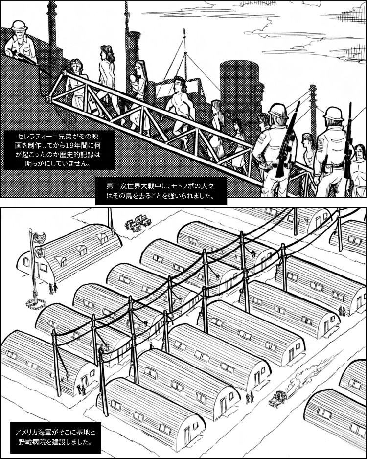 米軍の帝国主義体制がモトフポの人々をその島から追い出す。