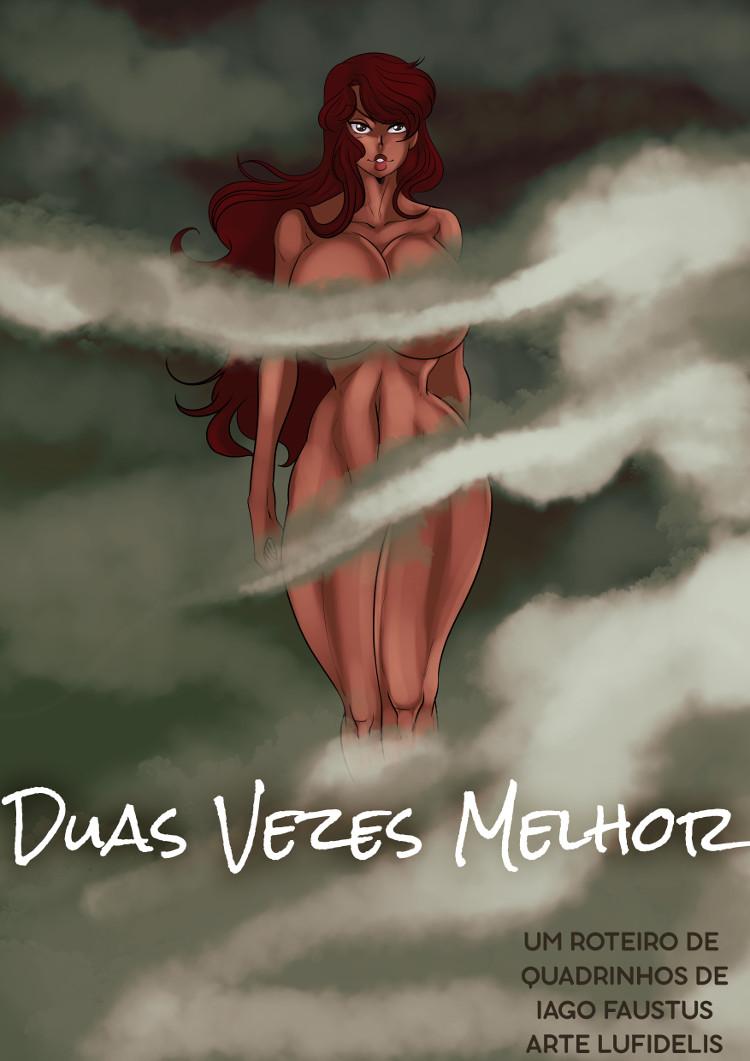 Uma bela mulher flutua em meio a misteriosos vapores na capa de Duplamente Melhor.