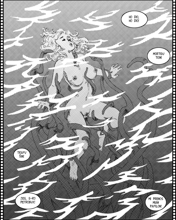 Febon molestas la tentakla monstro.