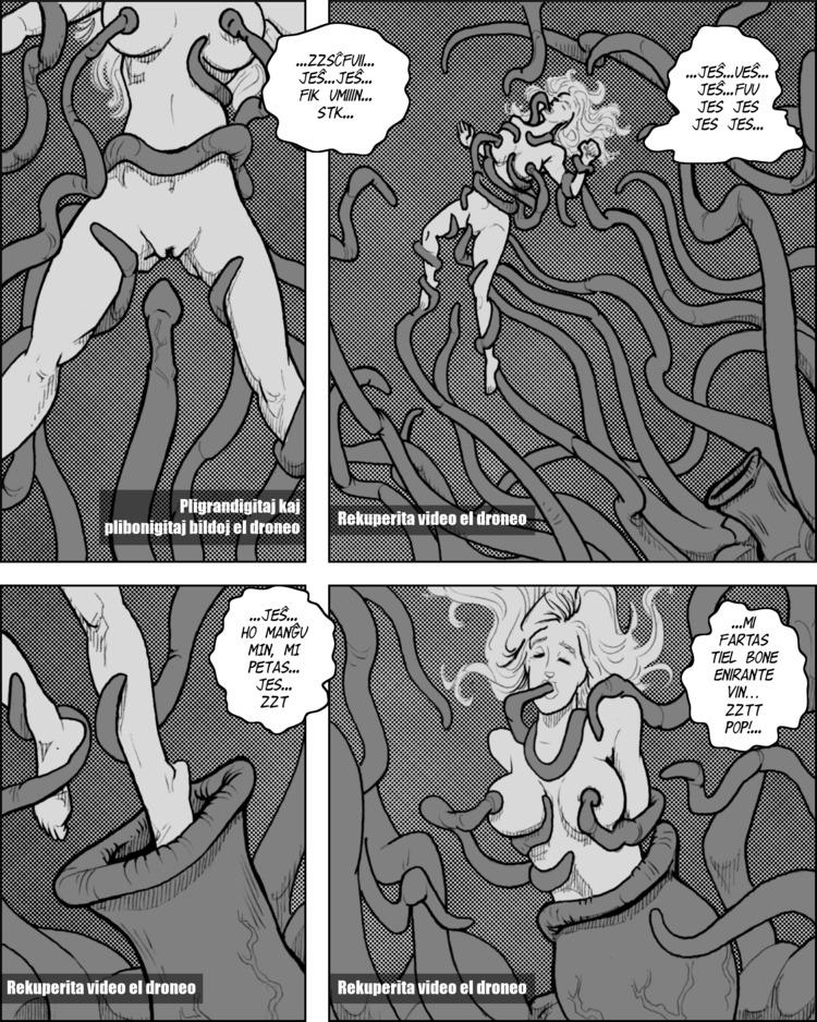 Eliza estas profunde en tentakla seksumado kaj tuj en la kreitaĵo.
