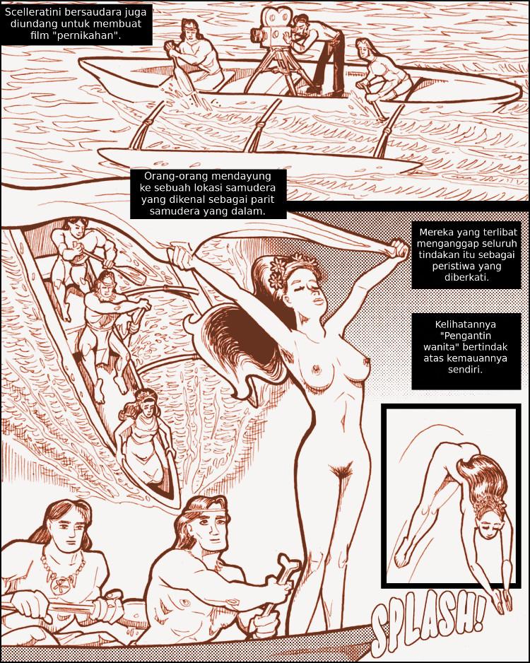 Pengantin wanita nan jelita dan telanjang melompat ke kedalaman yang misterius.