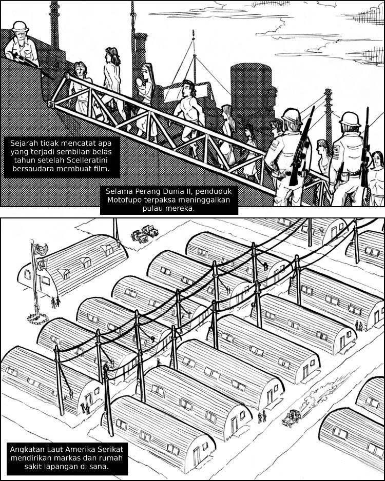 Imperialisme militer A.S. memindahkan penduduk Motofupo dari pulau mereka.