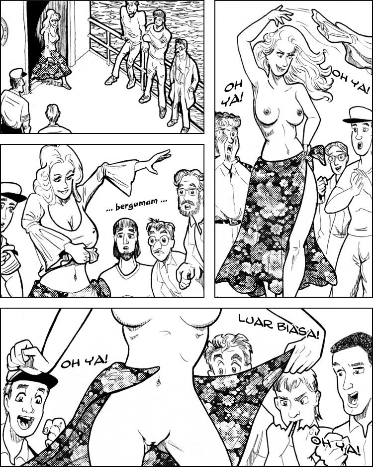Eliza keluar dengan mengenakan baju striptis seksi.