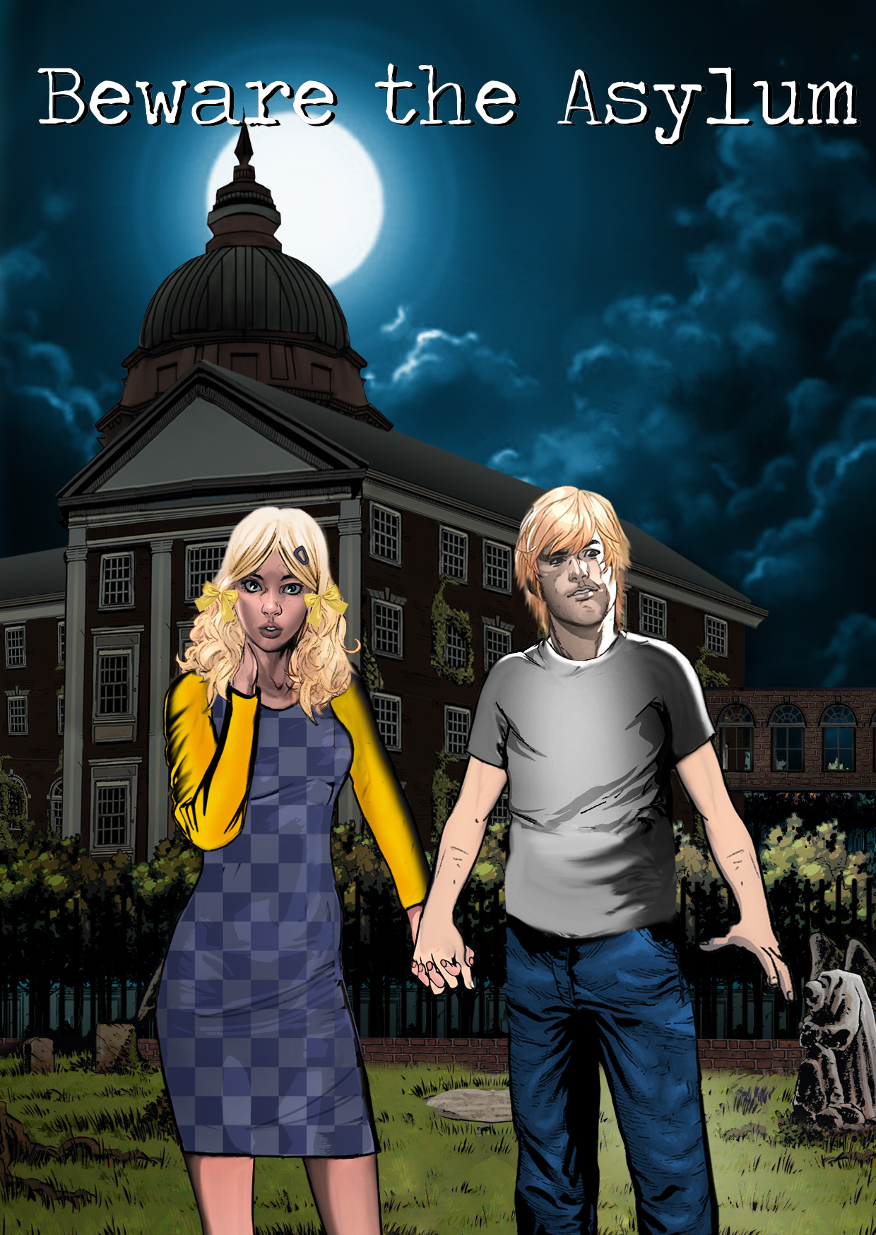 Teenage lovers Karen and Bobby stroll in the moonlight outside the Euphoric State Lunatic Asylum.