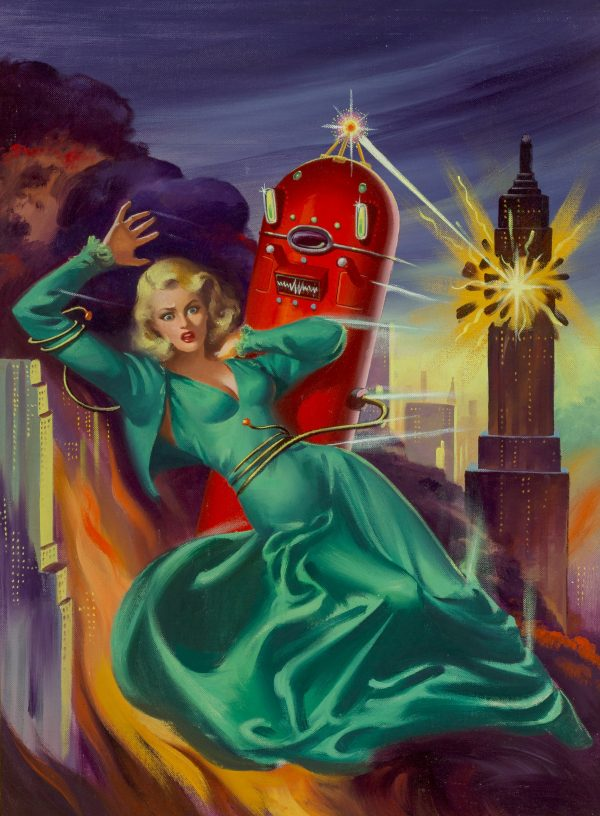 A robot blows up a city while enmeshing a dishy blond in its mecho-tentacles.