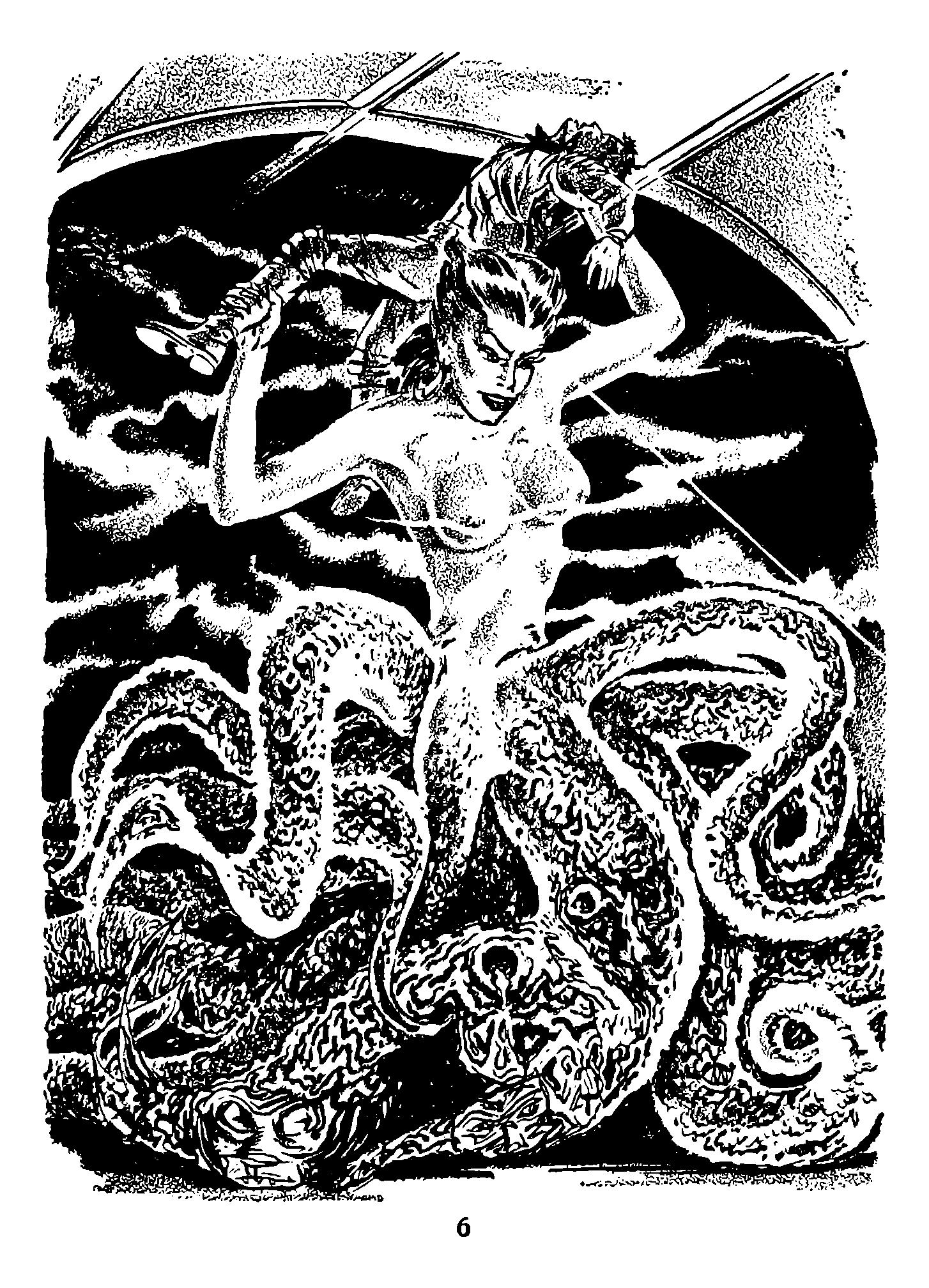 A giant space octopus-woman thrashes a hapless crewman.