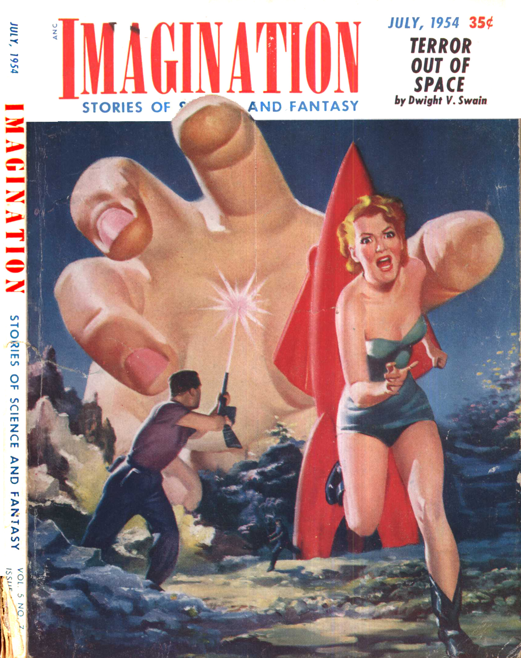 Harod McCauley cover art -- a giant hand reaches for a spacewoman exploring in her bathing suit.