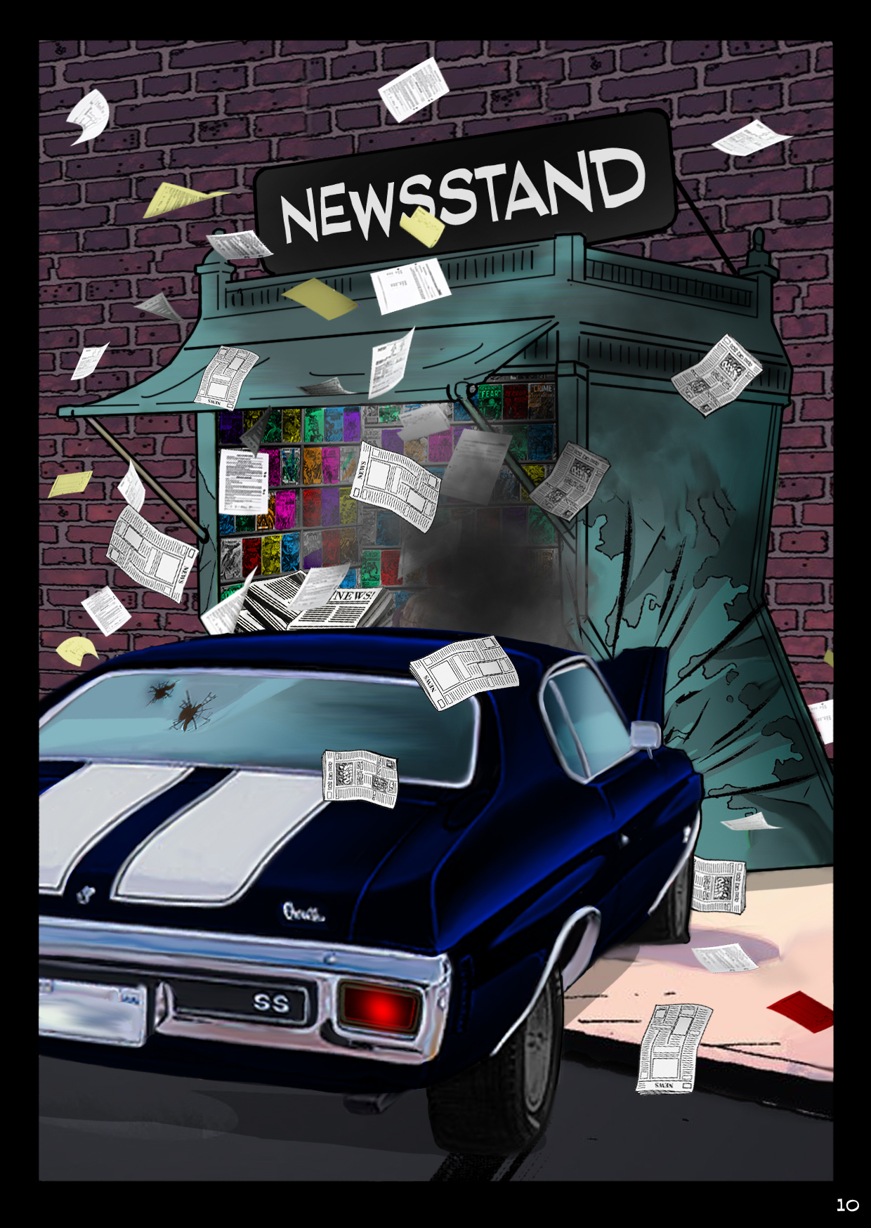 Bobby crashes his Chevelle into an urban newsstand.