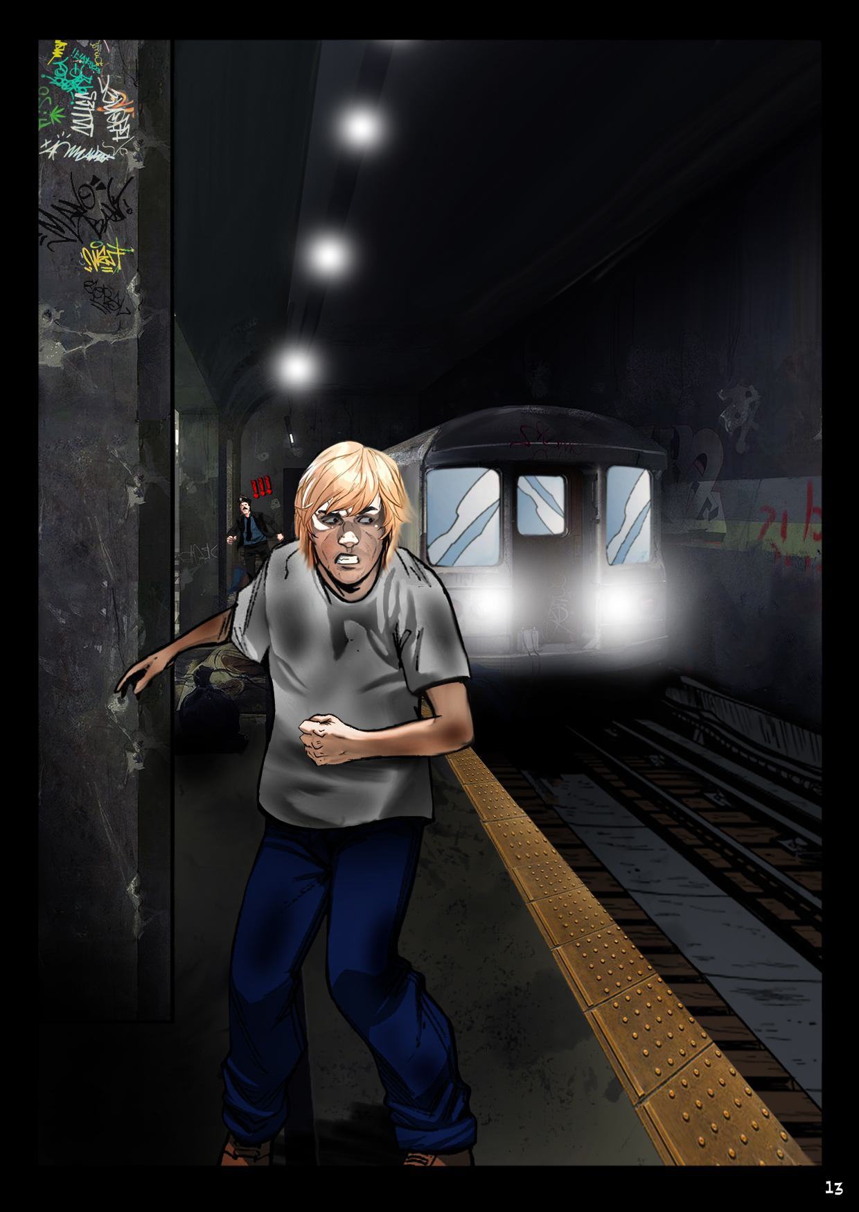 Bobby staggers down the subway platform as a train approaches and the cops are in distant pursuit.