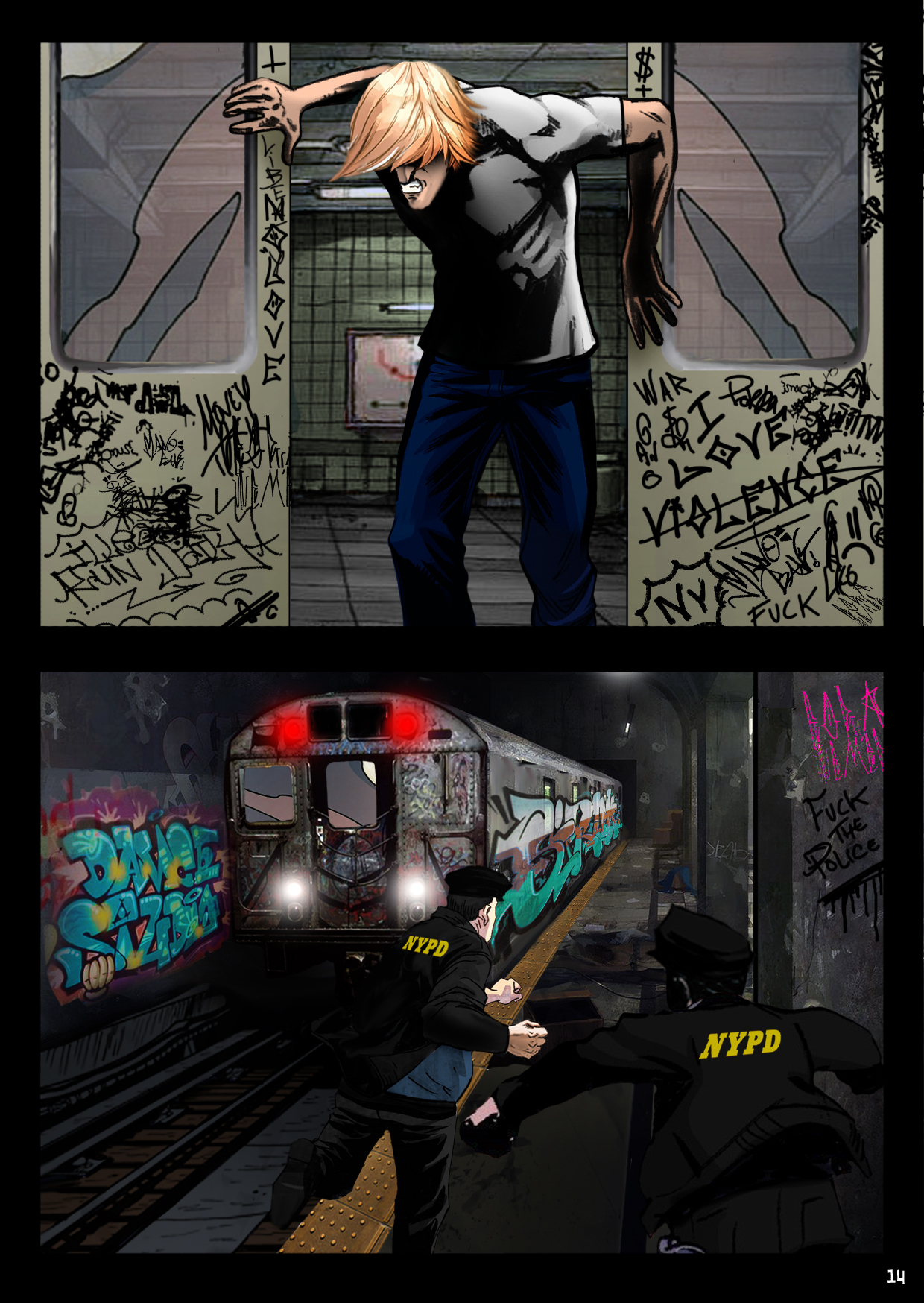 Bobby just makes it onto a departing train between closing doors, leaving purusing cops behind.