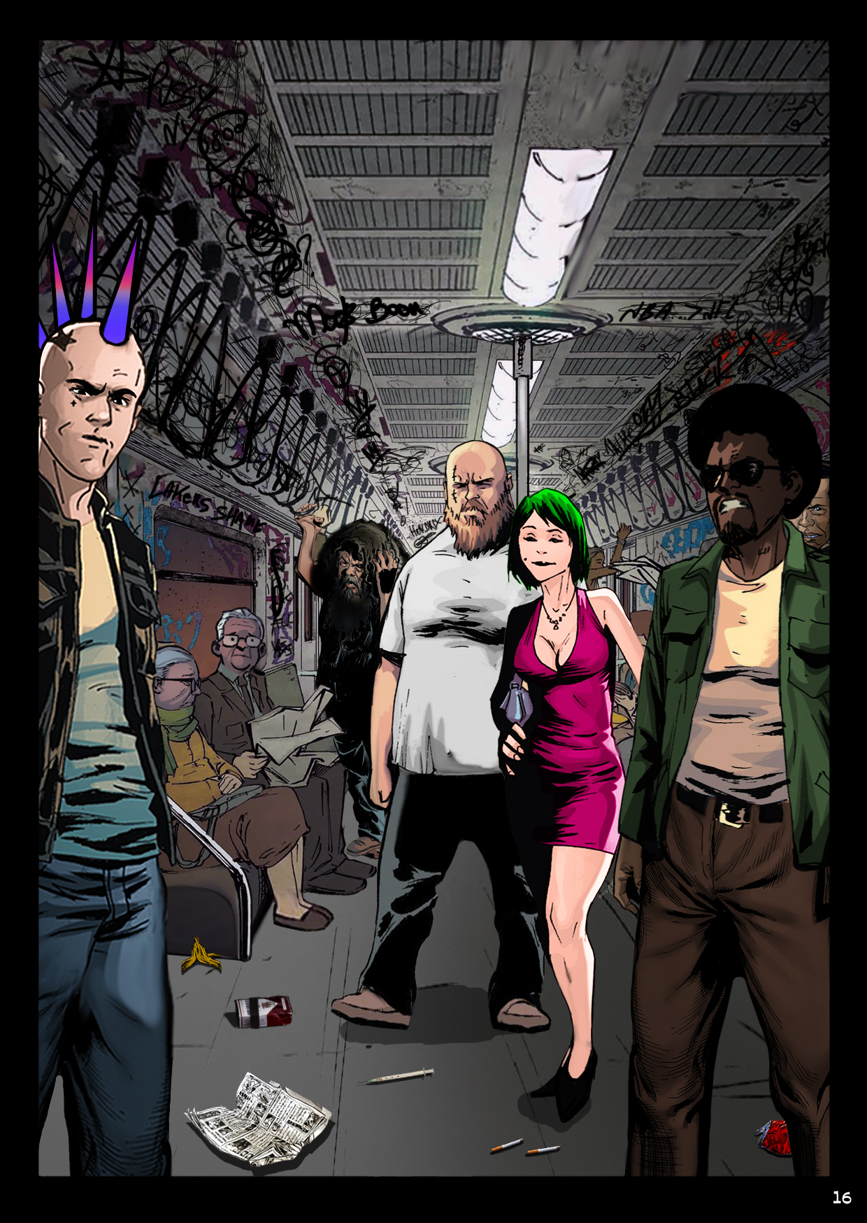 A cast of curious and sinister characters aboard the subway look back at Bobby.
