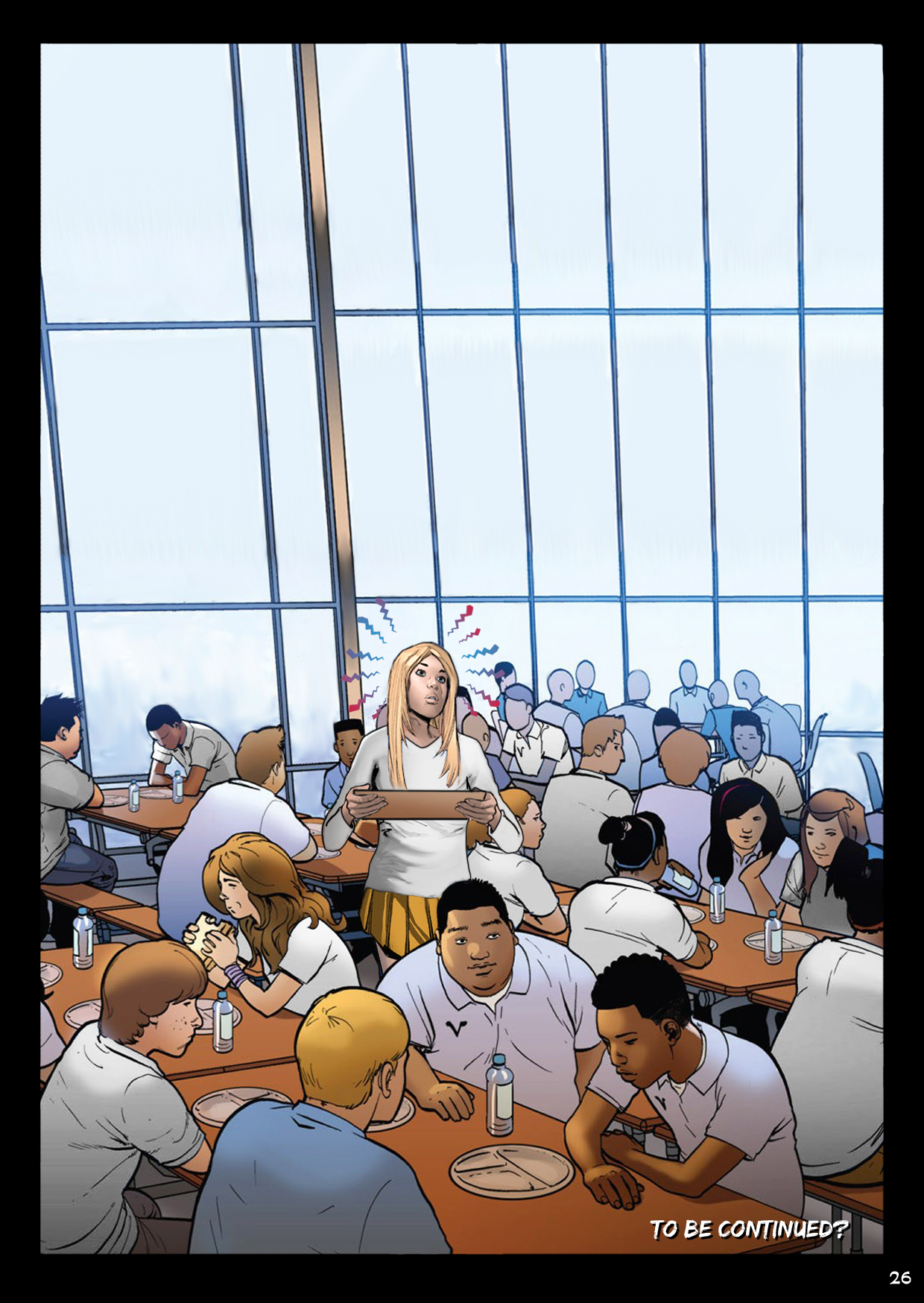 In the cafeteria. something is powerful enough to distract Pamela from school lunch.