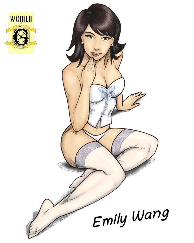 Emily Wang, looking both innocent and hot in white lingerie and stockings.