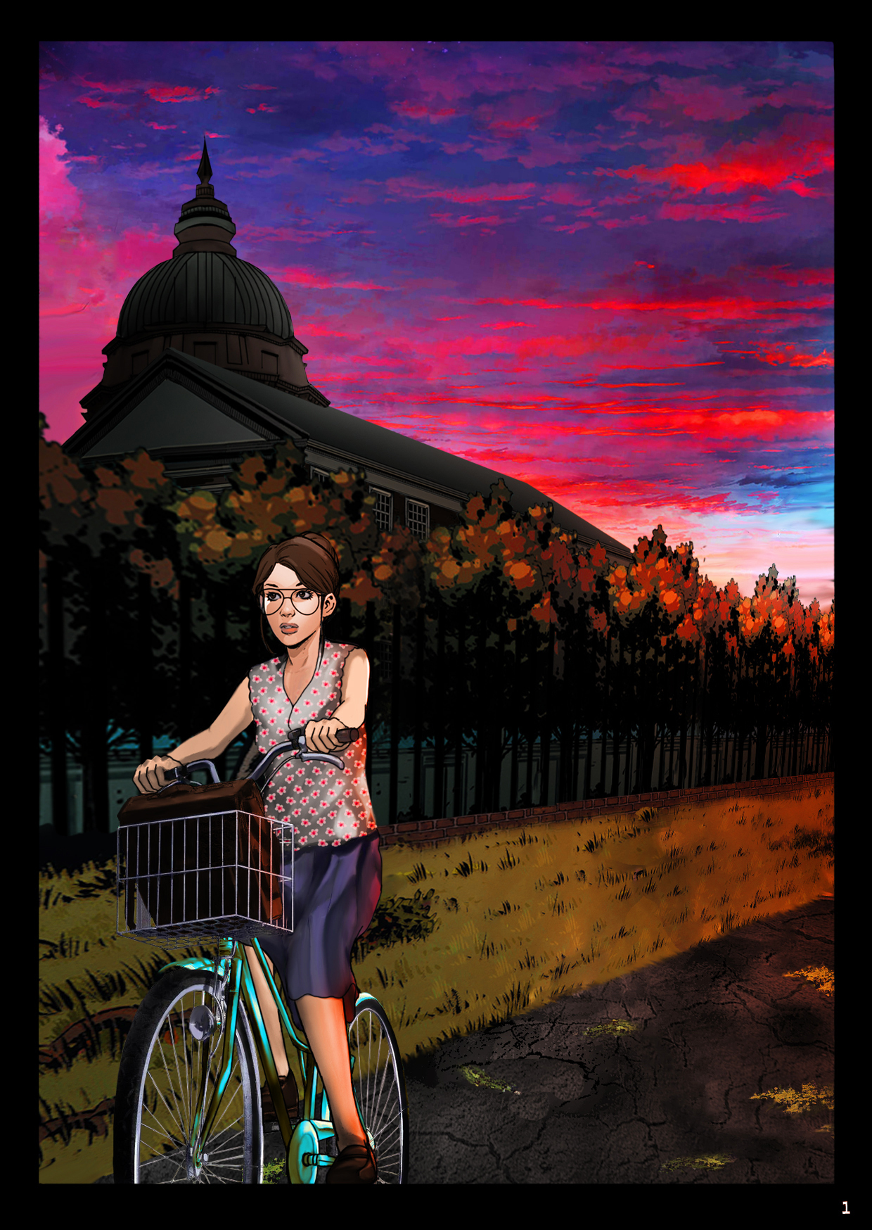 Brenda rides her bicycle alone at dusk out to the scary asylum.