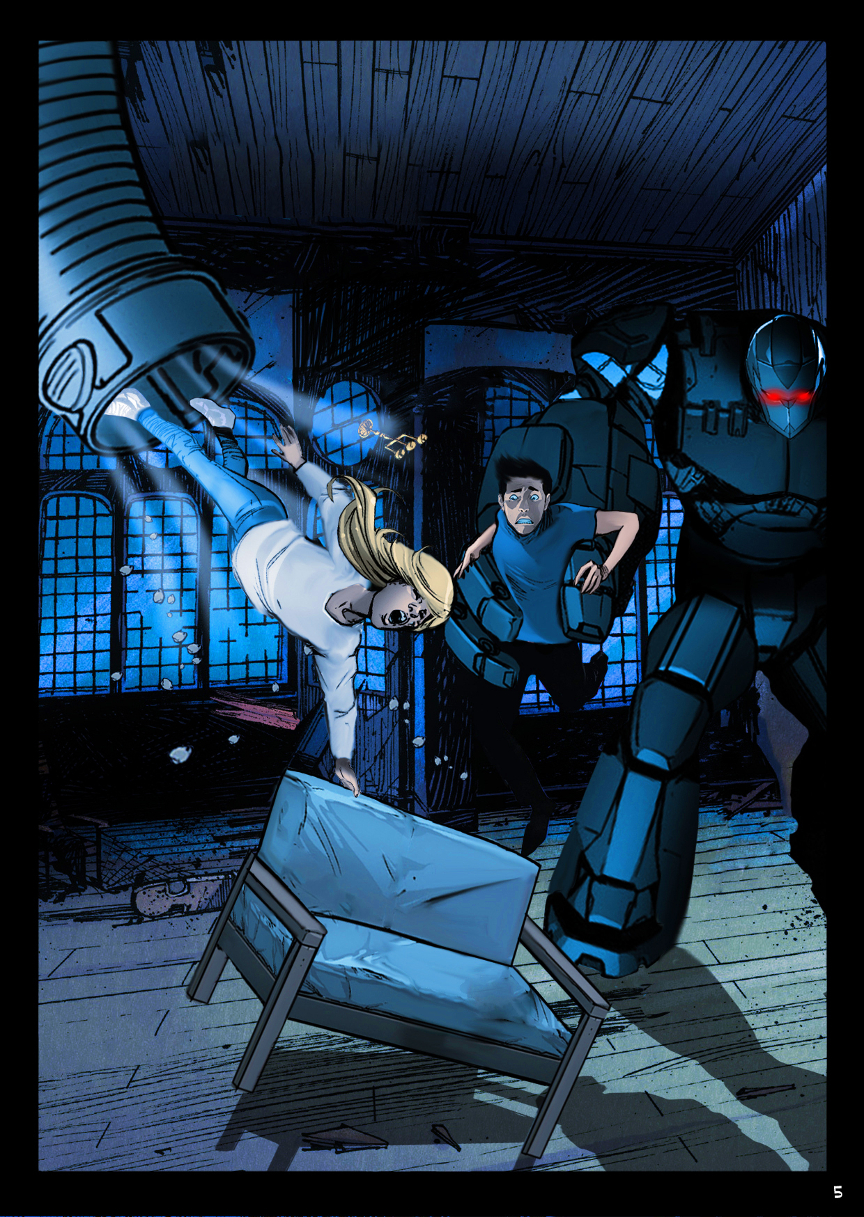 Mike is grabbed by Zheleznor the giant robot while Pamela fights not to be sucked up  into the bowels of the asylum.