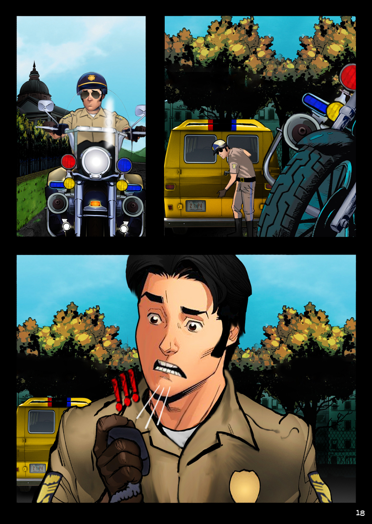A handsome motorcycle cop spots Billy's van outside the asylum and realizes something is very wrong.