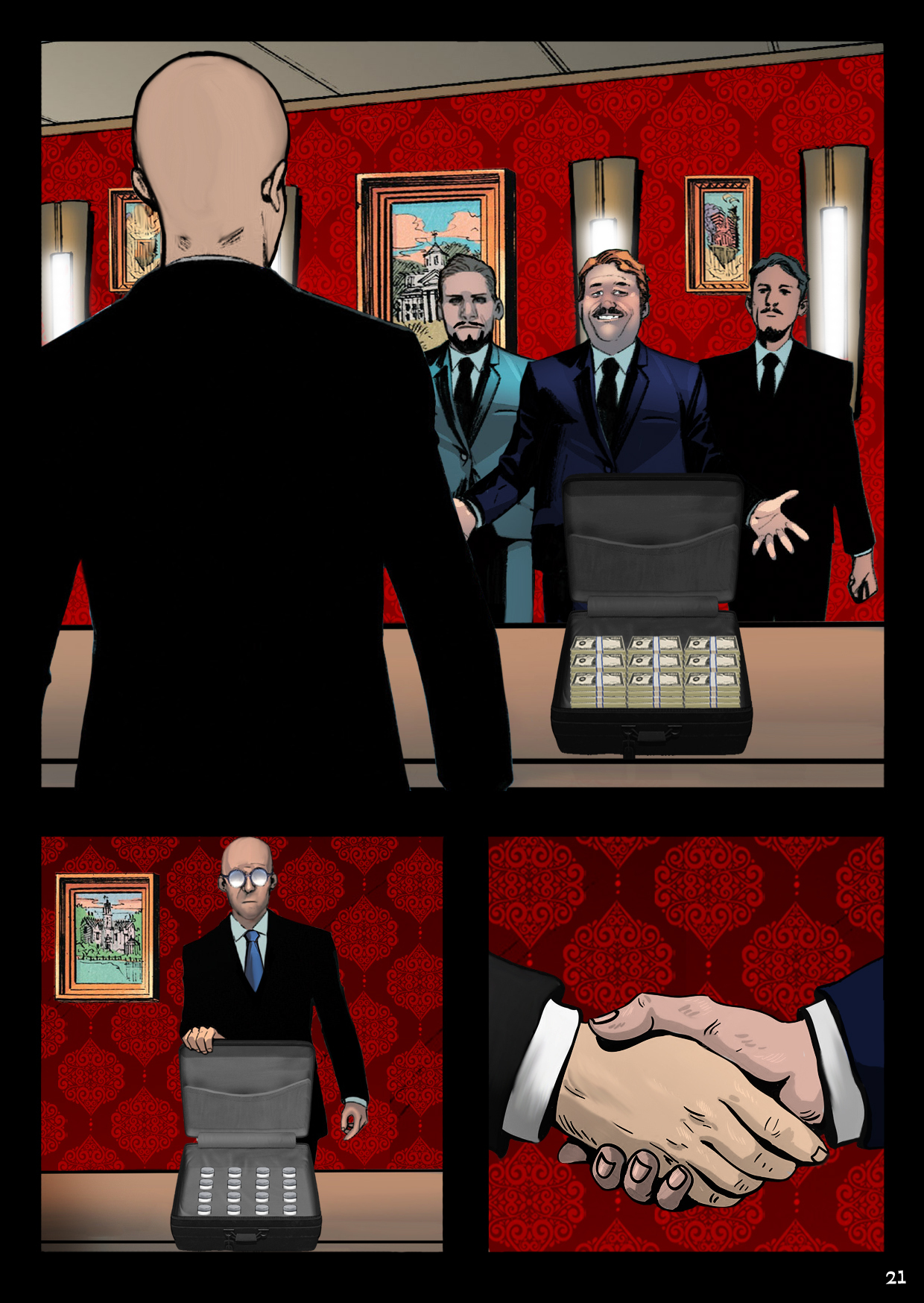 In a posh London gentlemen's club, Dr. Vragov strikes a deal with some shadowy businessmen.