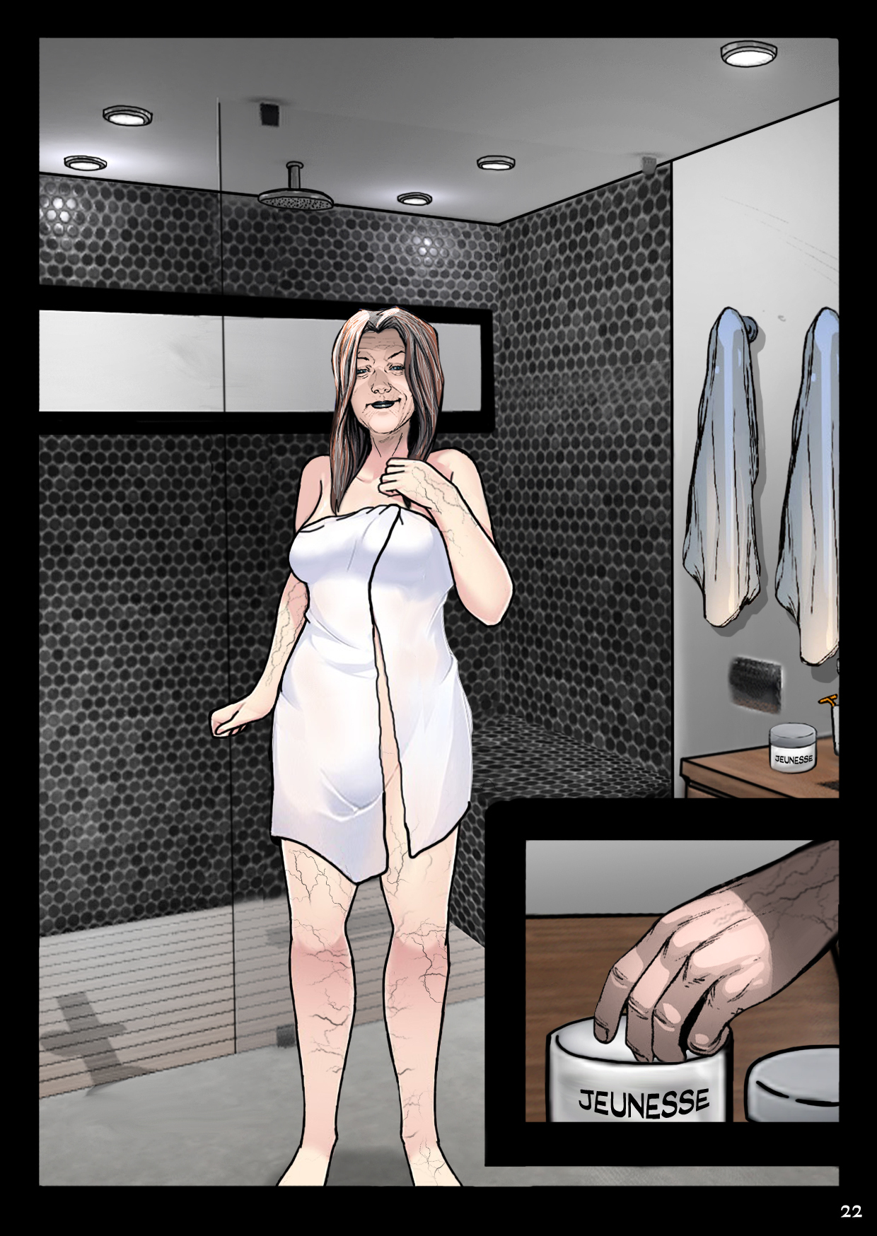 "In her elegant shower, a rich middle-aged lady reaches for some mysterious unguent labelled ""Jeunesse."""