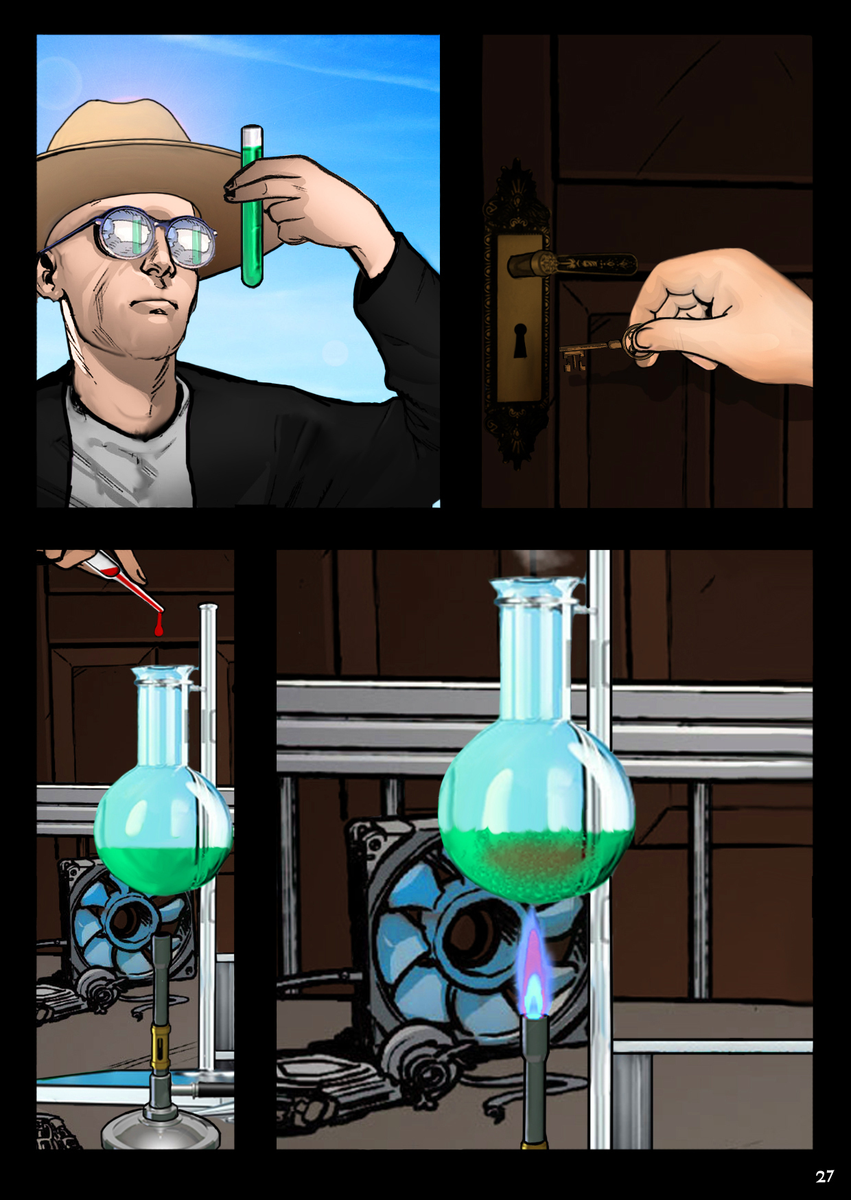 Down in his basement laboratory, Dr. Vragov goes to work one more time on a tube of green fluid.