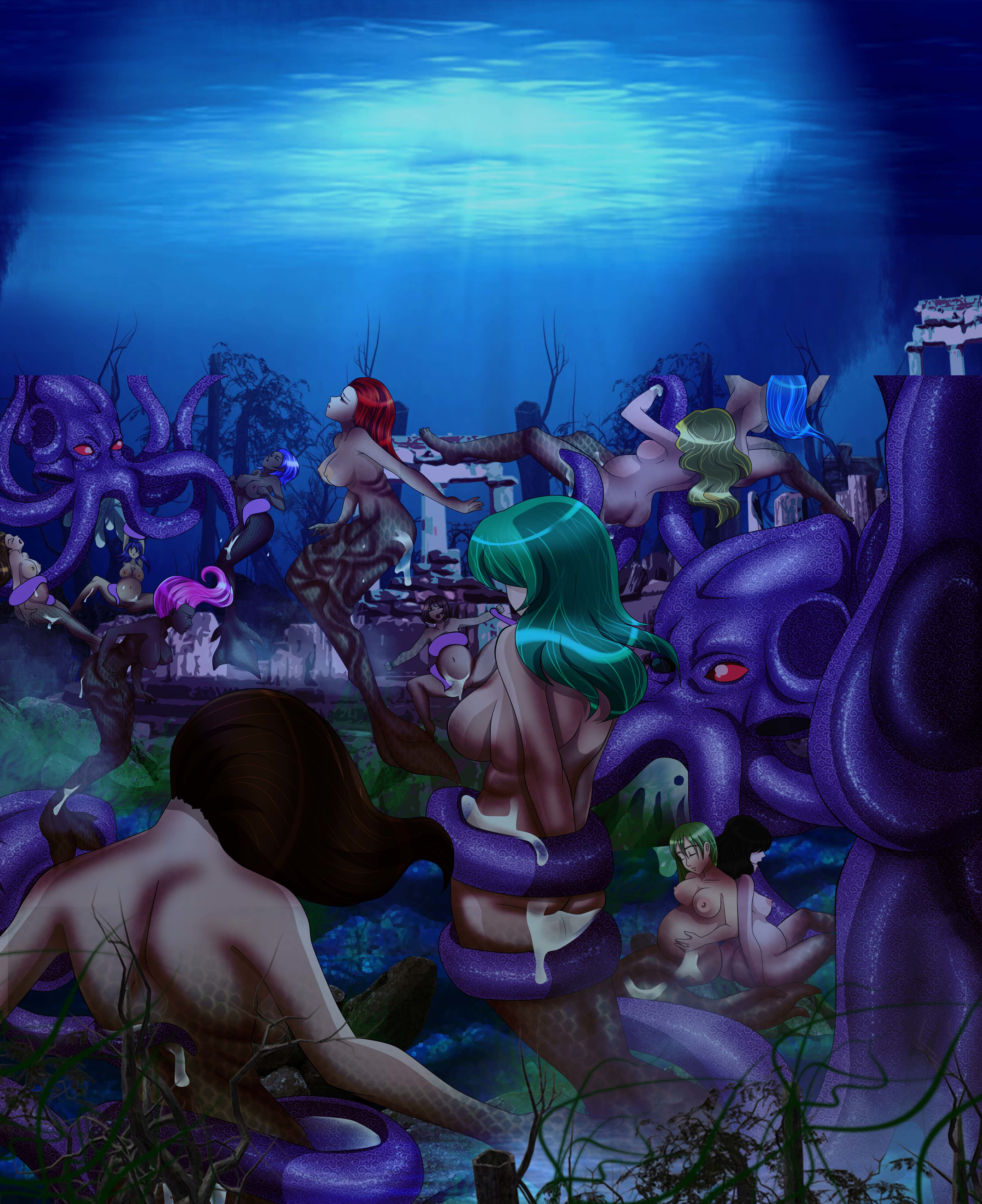An imagined undersea realm of tentacle monsters and naked girls done by Dark Vanessa.