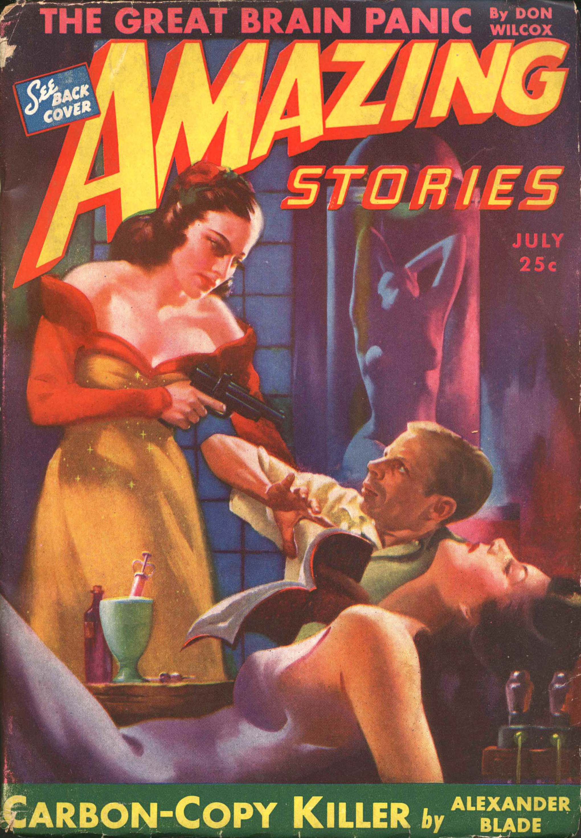 Cover of Amazing Stories for July 1943 by Harold W. McCauley.