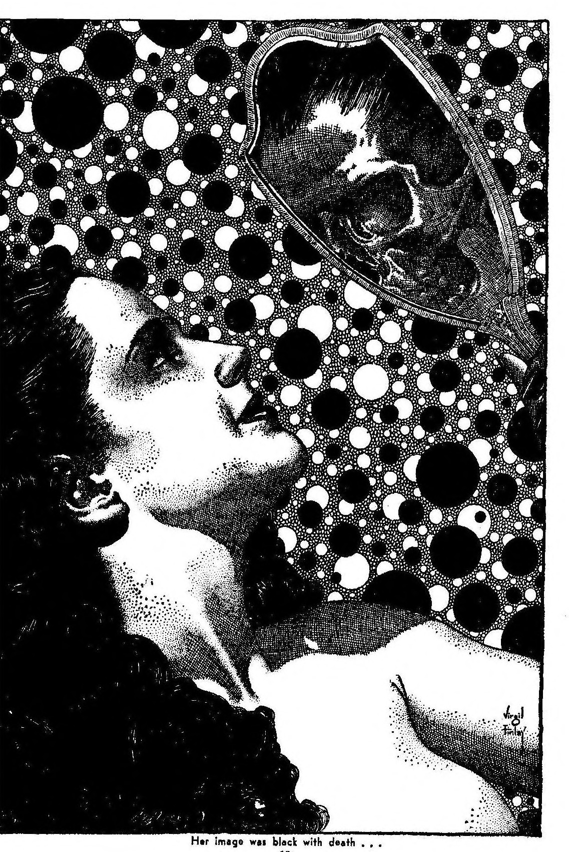 "Virgil Finlay interior illustration for Alexander Blade's ""Carbon-Copy Killer"" in Amazing Stories, July 1943."
