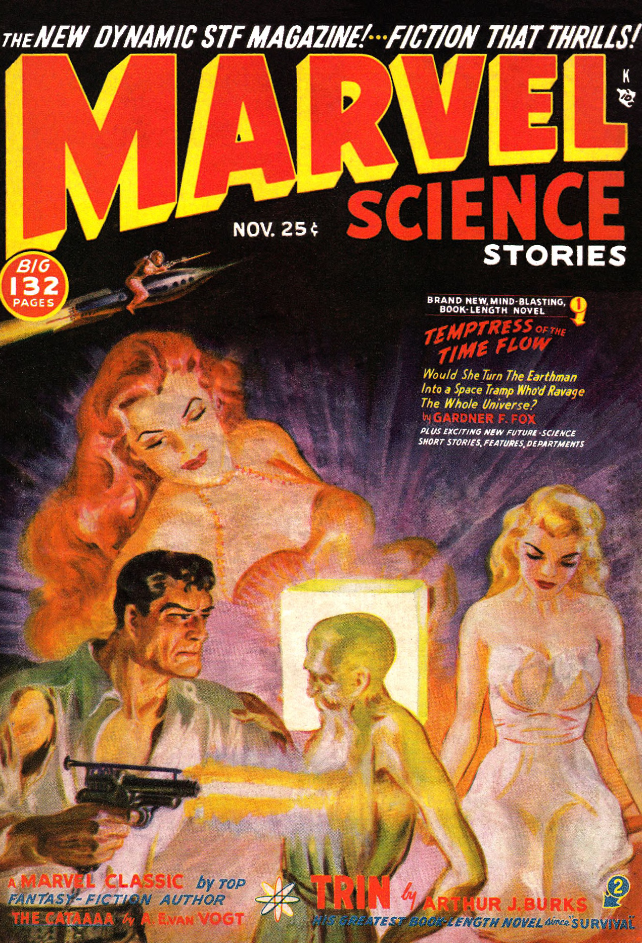 A cover by Norman Saunders for the November 1950 cover of Marvel Science Stories.