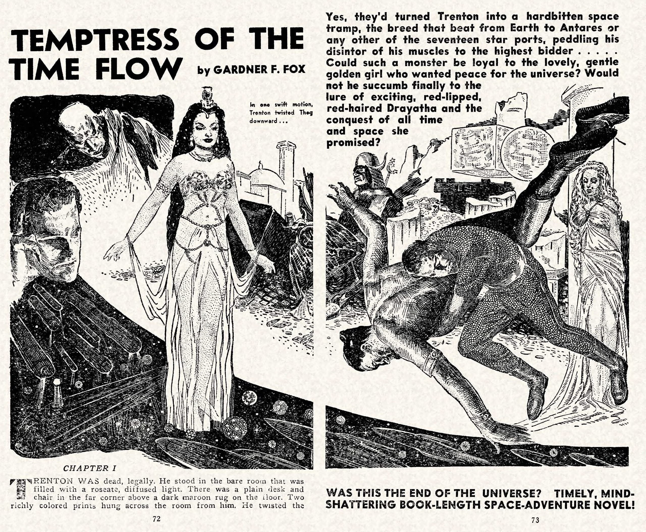 "Vincent Napoli interior illustration for Gardner Fox's story ""Temptress of the Time Flow,"" in the November 1950 Marvel Science Stories."