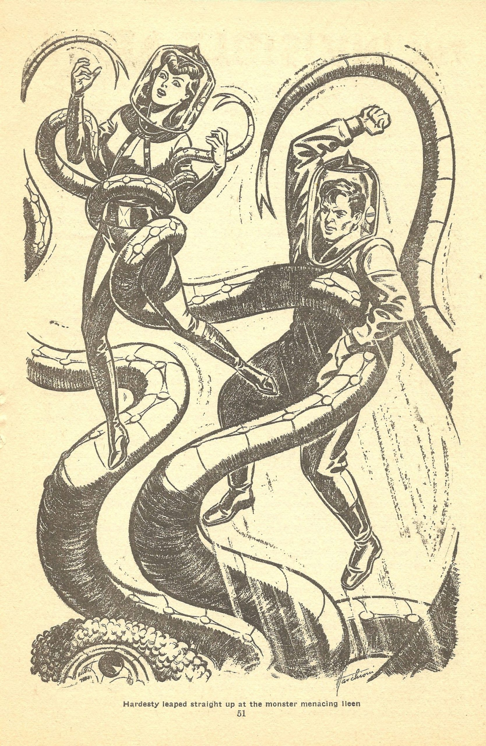 "Tentacle peril illustration by Mark Marchioni illustrating Ross Rocklynne's story ""The Invisible Army."""