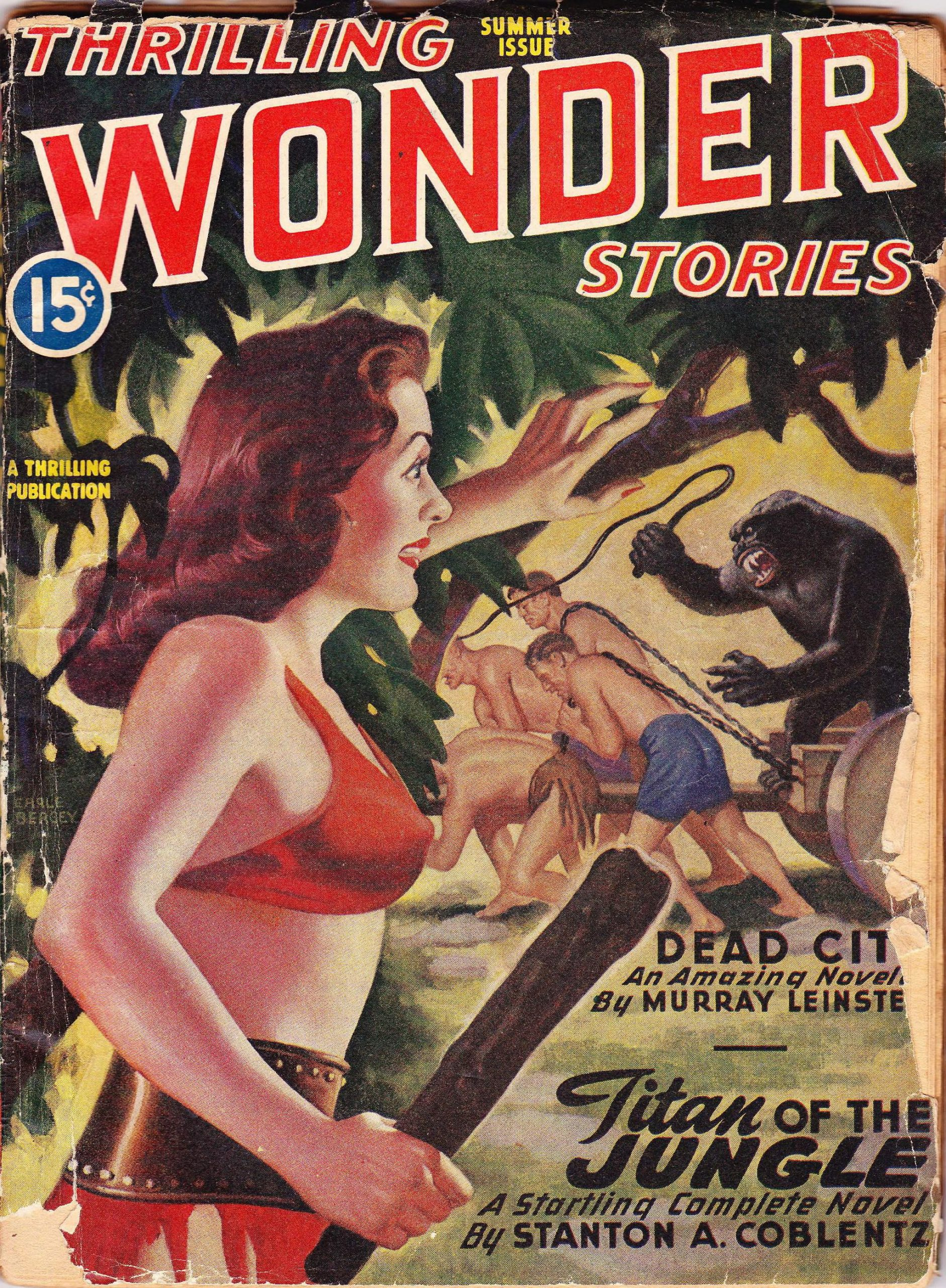 An Earle Bergey cover for Thrilling Wonder Stories, Summer 1946.  A  jungle girl with a club looks on as a gorilla dirves a column of human male slaves.
