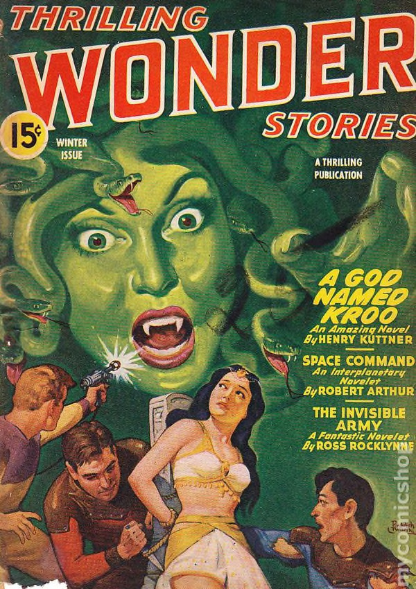 A Medusa, a ray-gun guy, and a sacrificial damsel all on the cover of the Winter 1944 Thrilling Wonder Stories, painted by Rudolph Belarski
