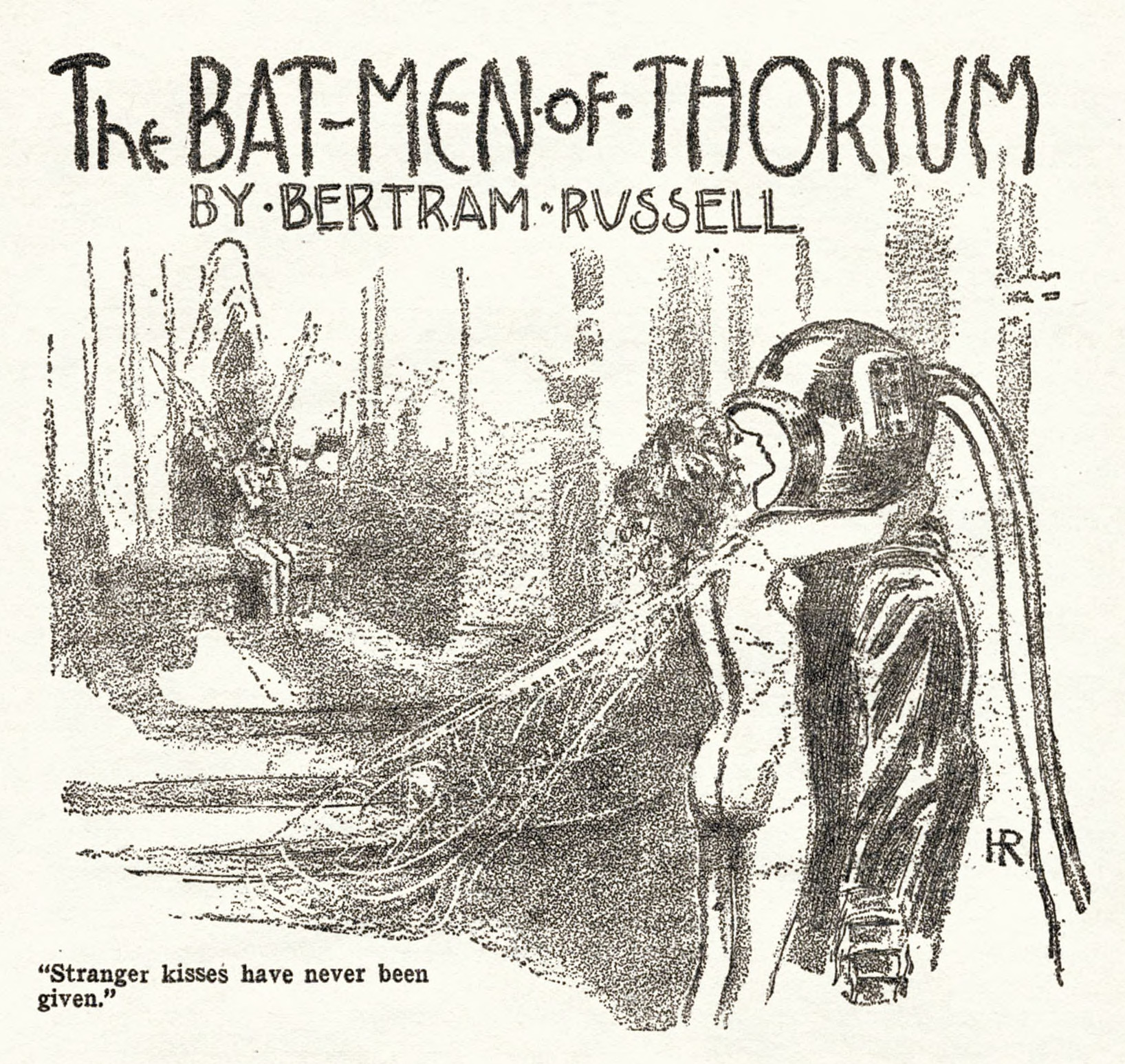 """A story illustration by Hugh Rankin for Bertram Russell's """"The Bat-Men of Thorium,"""" which appeared in the July 1928 issue of Weird Tales."""